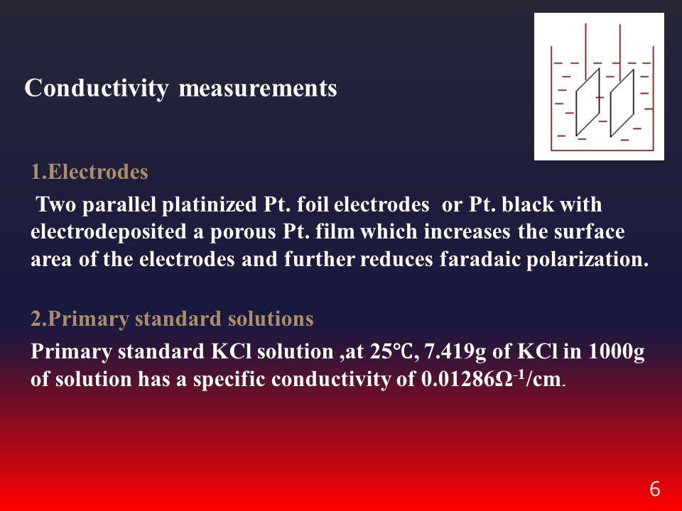 6 Conductivity measurements 1.Electrodes Two parallel platinized Pt.