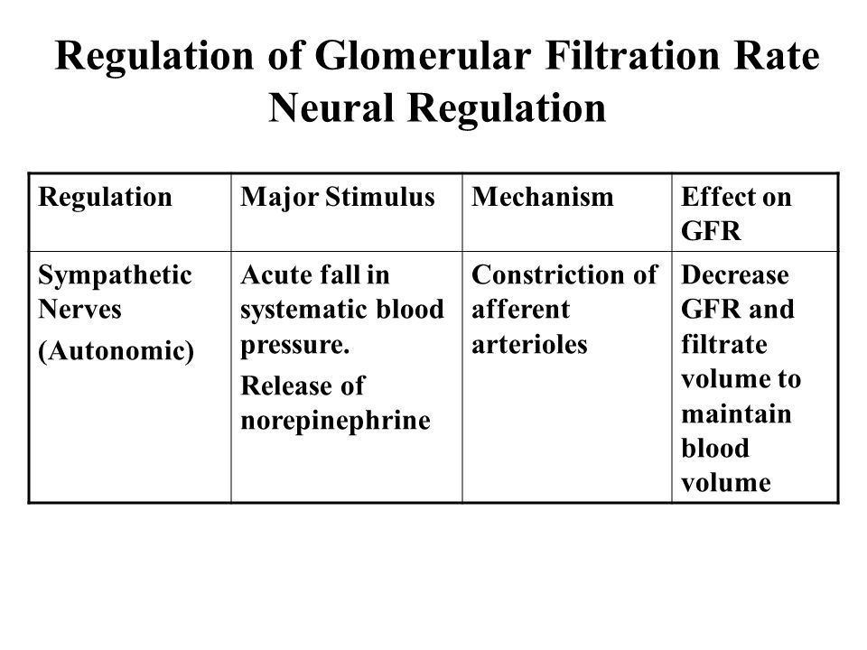 Regulation of Glomerular Filtration Rate Neural Regulation RegulationMajor StimulusMechanismEffect on GFR Sympathetic Nerves (Autonomic) Acute fall in systematic blood pressure.