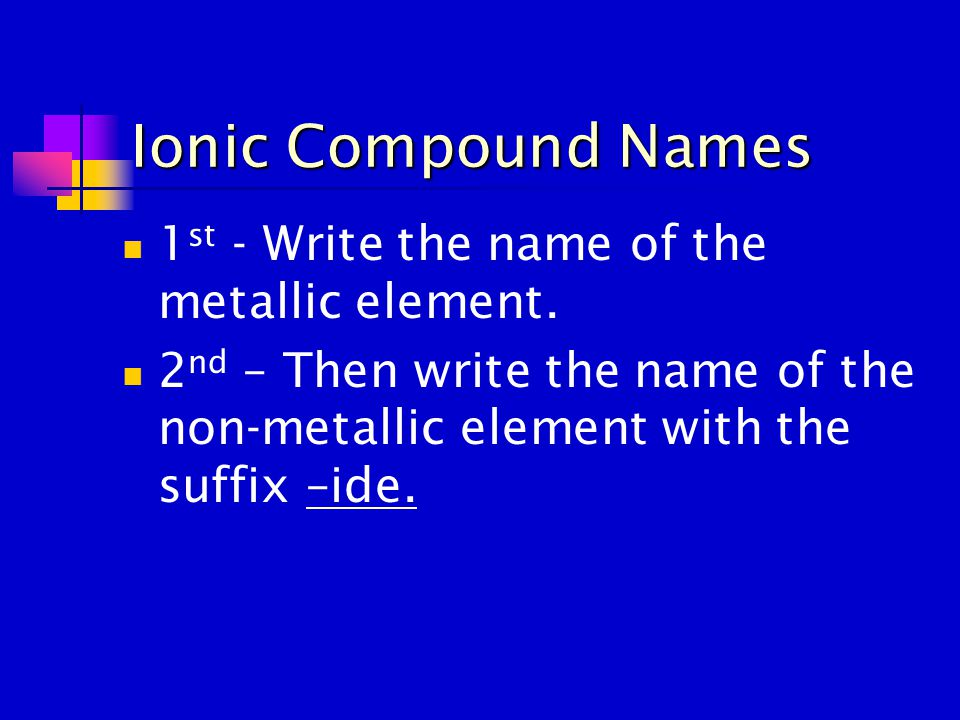 Ionic Compound Names 1 st - Write the name of the metallic element. 2 nd – Then write the name of the non-metallic element with the suffix –ide.