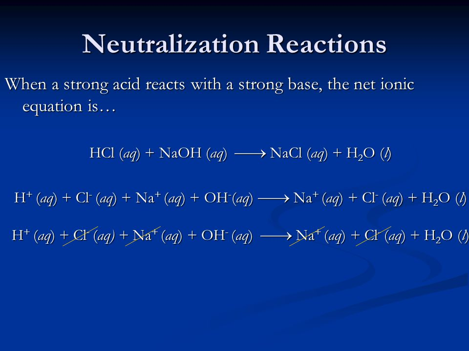 Neutralization Reactions When a strong acid reacts with a strong base, the net ionic equation is… HCl (aq) + NaOH (aq)  NaCl (aq) + H 2 O (l) H + (aq) + Cl - (aq) + Na + (aq) + OH - (aq)  Na + (aq) + Cl - (aq) + H 2 O (l)