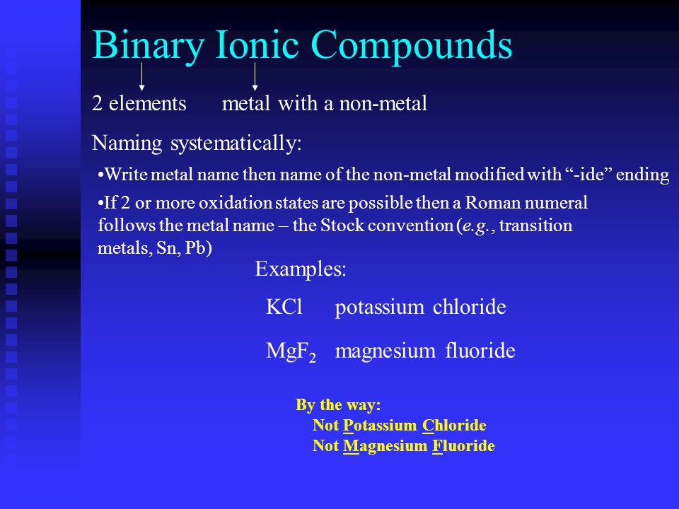 Binary Ionic Compounds Note: ionic charge is based on location on the periodic table.