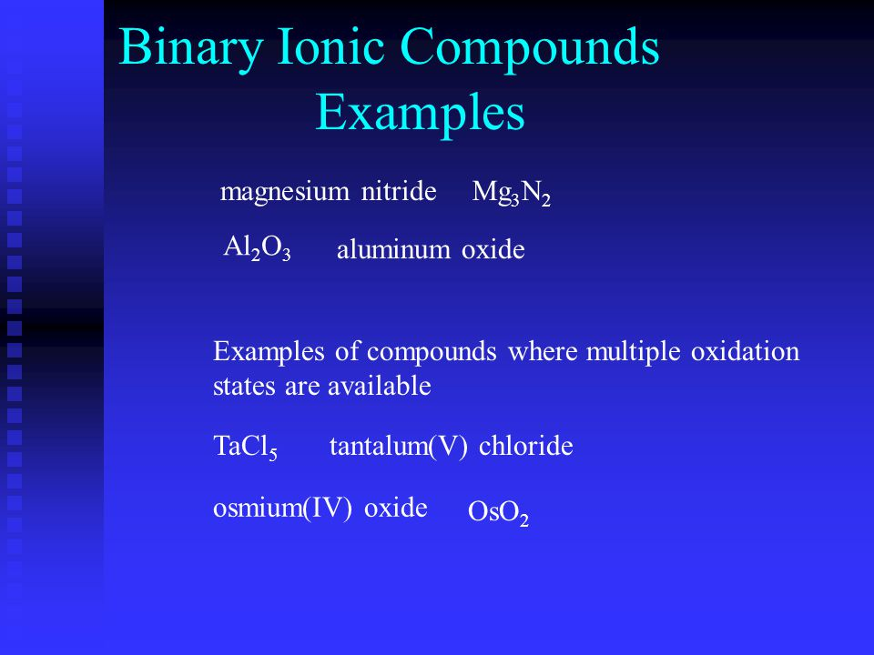 Binary Molecular Compounds 2 elementsusually 2 non-metals Naming systematically: Write the unmodified name of the first element followed by the name of the second element modified with the -ide ending.