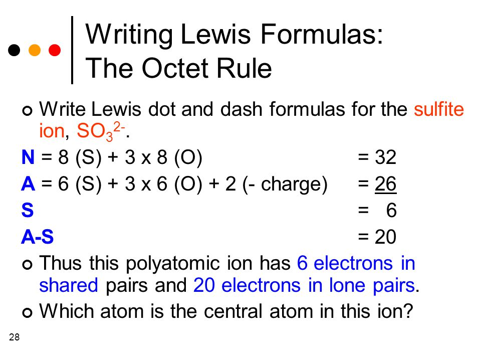 28 Writing Lewis Formulas: The Octet Rule Write Lewis dot and dash formulas for the sulfite ion, SO 3 2-.