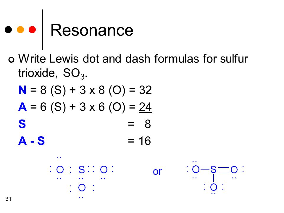 31 Resonance Write Lewis dot and dash formulas for sulfur trioxide, SO 3.