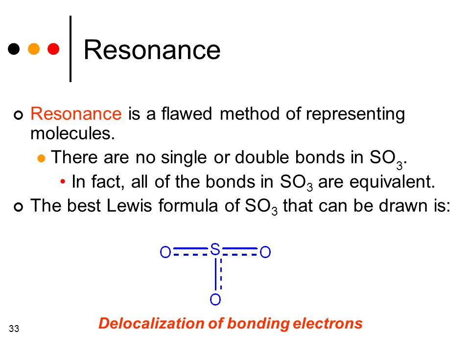 33 Resonance Resonance is a flawed method of representing molecules.