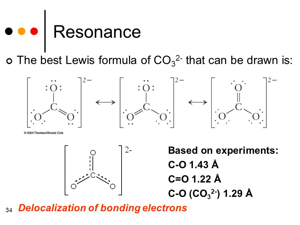 34 Resonance The best Lewis formula of CO 3 2- that can be drawn is: Delocalization of bonding electrons Based on experiments: C-O 1.43 Å C=O 1.22 Å C-O (CO 3 2- ) 1.29 Å