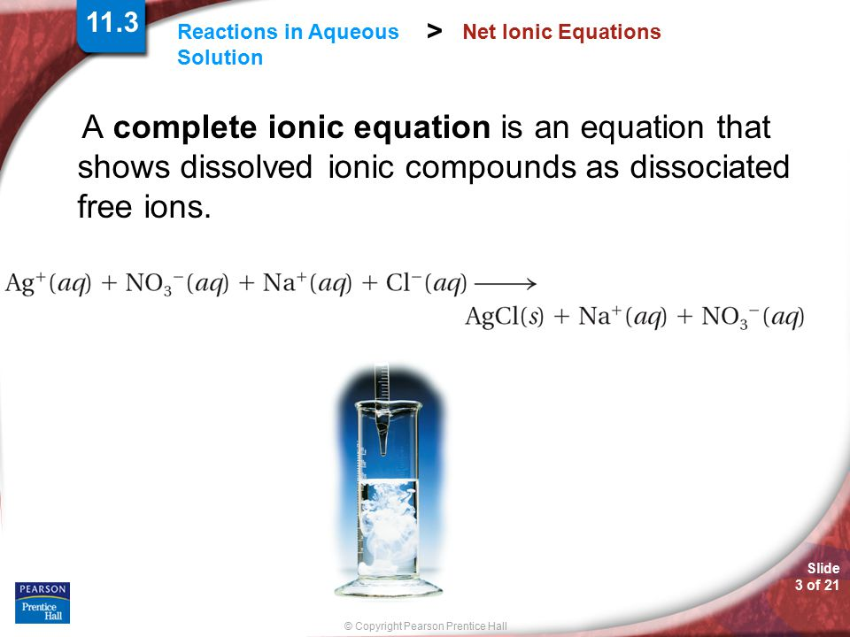 Slide 4 of 21 © Copyright Pearson Prentice Hall Reactions in Aqueous Solution > Net Ionic Equations An ion that appears on both sides of an equation and is not directly involved in the reaction is called a spectator ion.