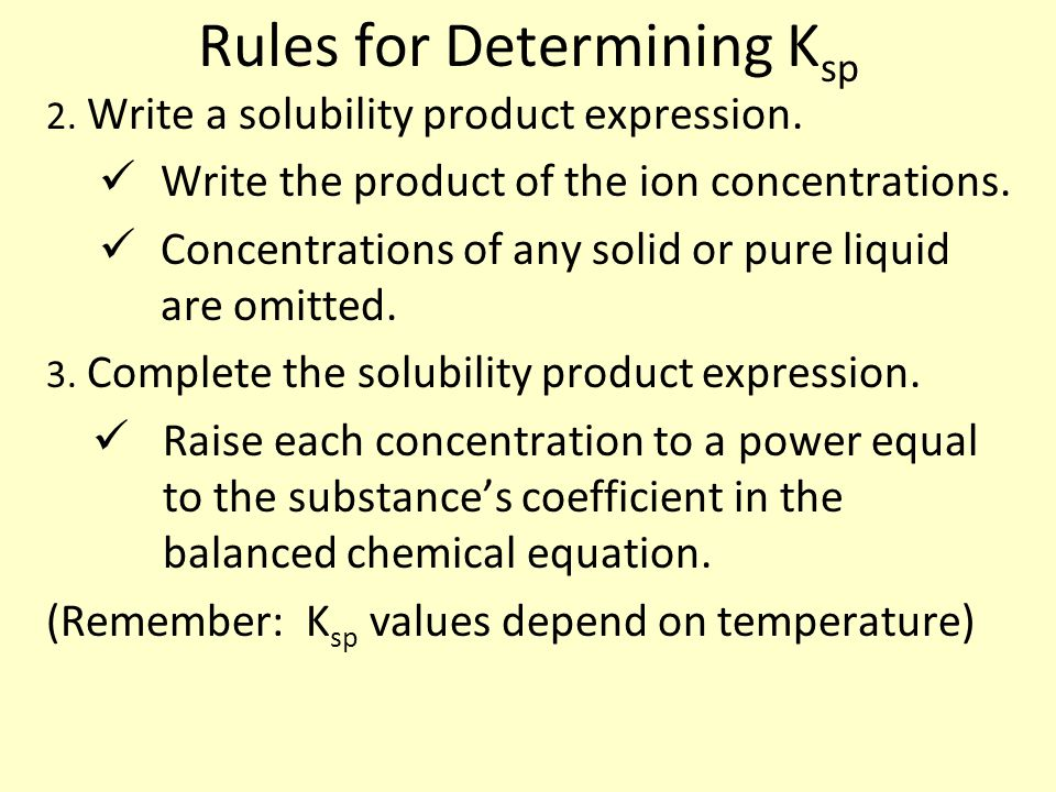 Rules for Determining K sp 2. Write a solubility product expression.