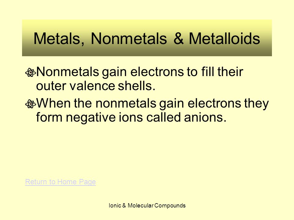 Ionic & Molecular Compounds Metals, Nonmetals & Metalloids Nonmetals gain electrons to fill their outer valence shells. When the nonmetals gain electr