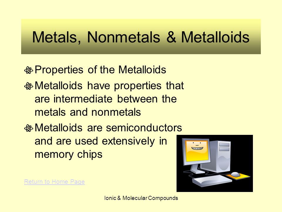 Ionic & Molecular Compounds Metals, Nonmetals & Metalloids Properties of the Metalloids Metalloids have properties that are intermediate between the metals and nonmetals Metalloids are semiconductors and are used extensively in memory chips Return to Home Page