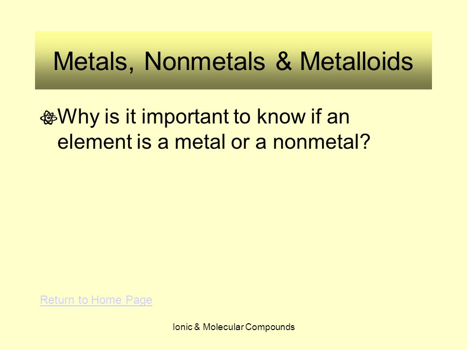 Ionic & Molecular Compounds Metals, Nonmetals & Metalloids Why is it important to know if an element is a metal or a nonmetal? Return to Home Page