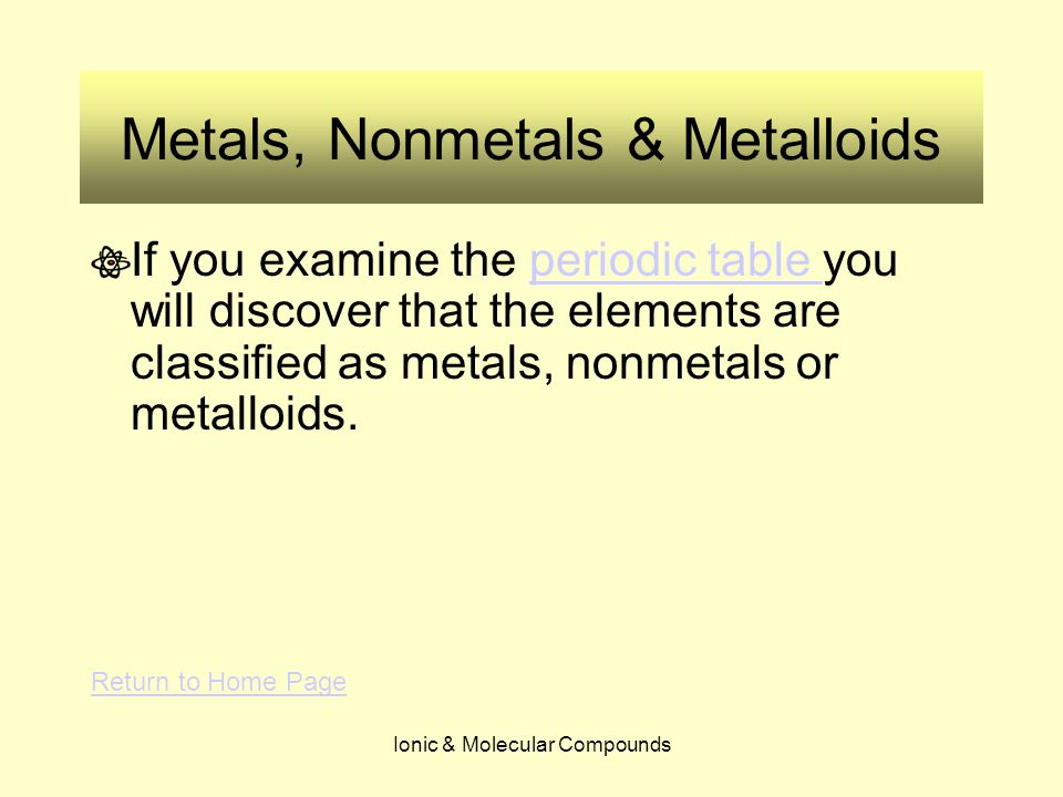 Ionic & Molecular Compounds Metals, Nonmetals & Metalloids If you examine the periodic table you will discover that the elements are classified as met