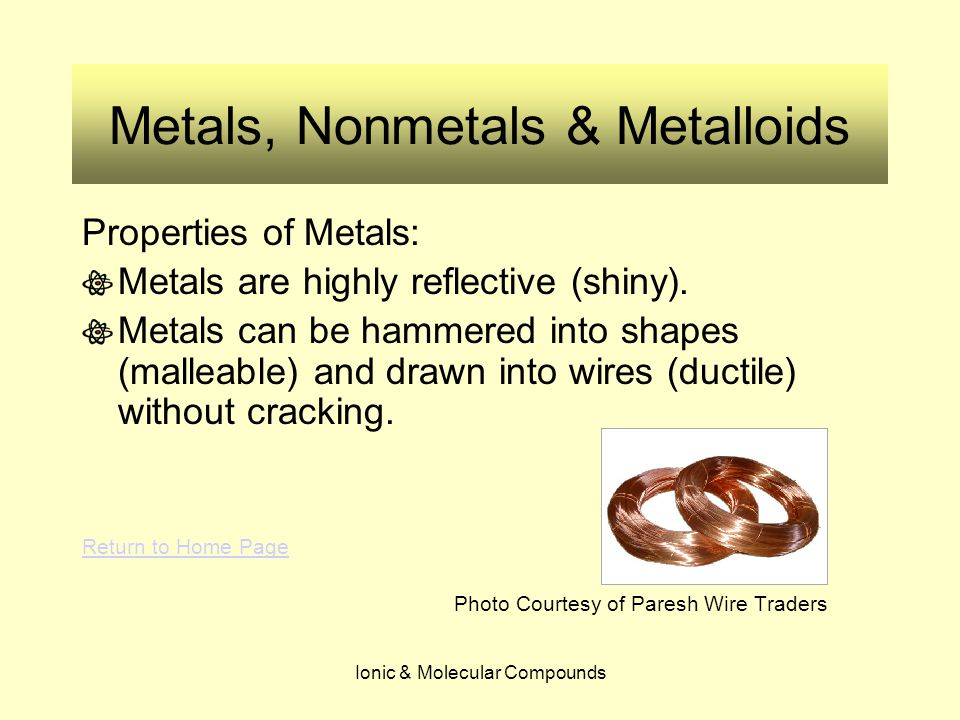 Ionic & Molecular Compounds Metals, Nonmetals & Metalloids Why is it important to know if an element is a metal or a nonmetal.