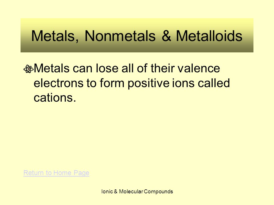 Ionic & Molecular Compounds Metals, Nonmetals & Metalloids Metals can lose all of their valence electrons to form positive ions called cations. Return