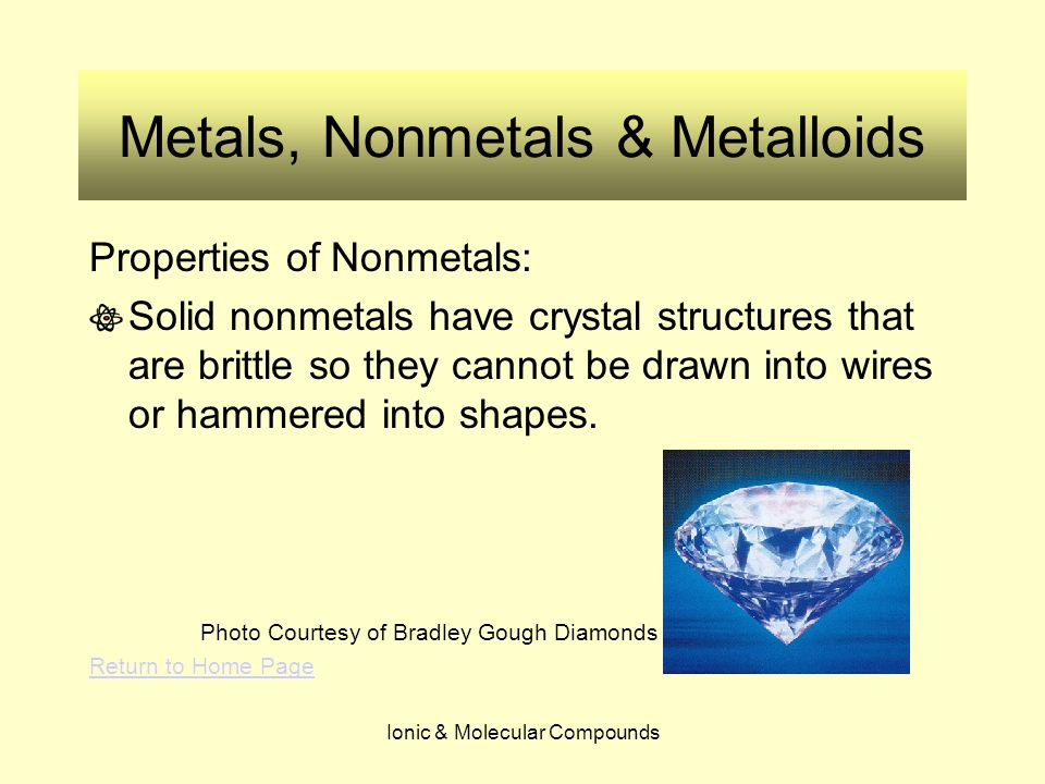 Ionic & Molecular Compounds Metals, Nonmetals & Metalloids What kind of bonding is present in CO 2 .