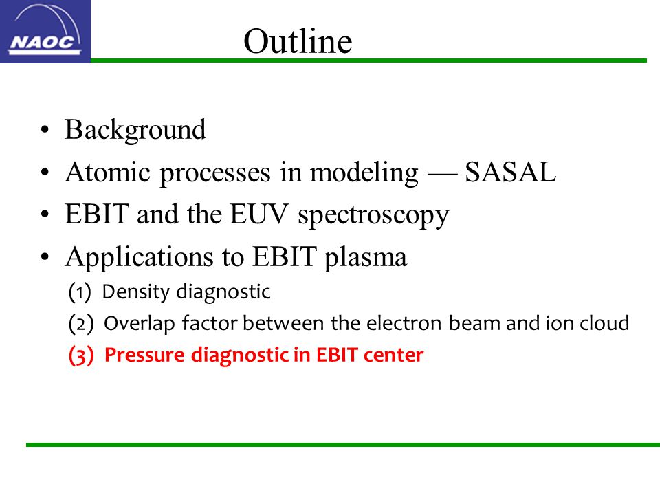 Outline Background Atomic processes in modeling — SASAL EBIT and the EUV spectroscopy Applications to EBIT plasma (1) Density diagnostic (2) Overlap factor between the electron beam and ion cloud (3) Pressure diagnostic in EBIT center