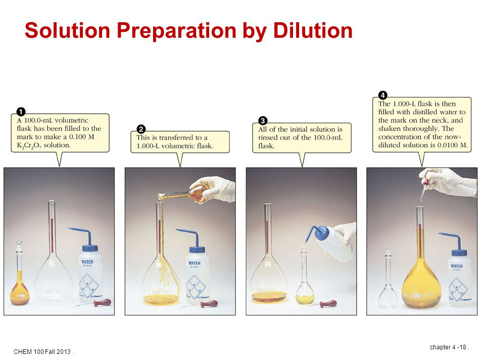 CHEM 100 Fall 2013. chapter 4 -18. Solution Preparation by Dilution