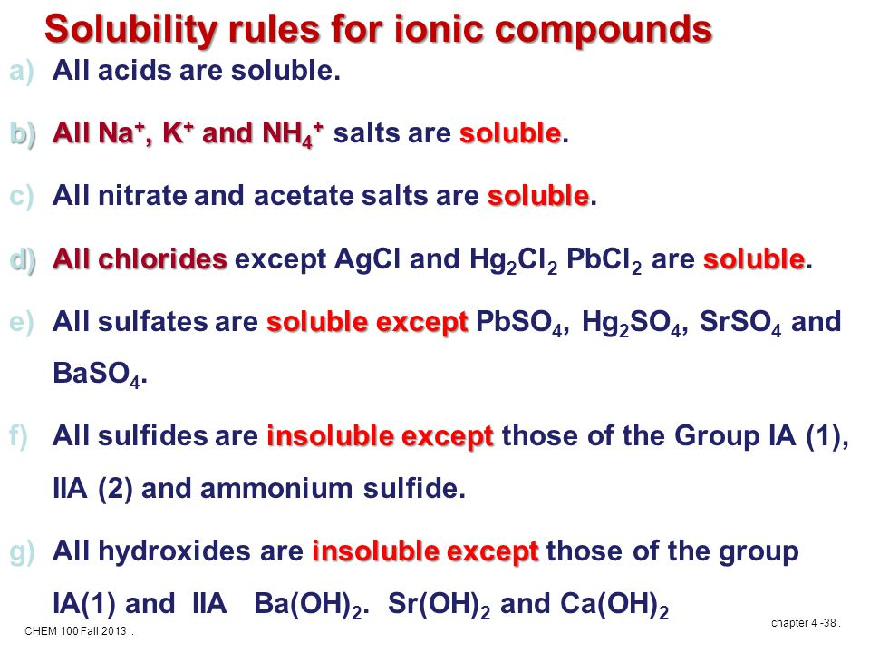 CHEM 100 Fall 2013. chapter 4 -38. Solubility rules for ionic compounds a)All acids are soluble.