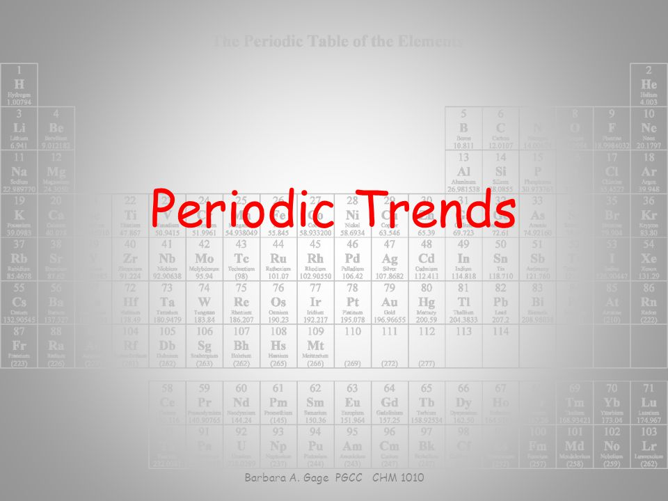 Barbara A. Gage PGCC CHM 1010 Figure 8.15 and 8.16 Trends in four atomic properties.