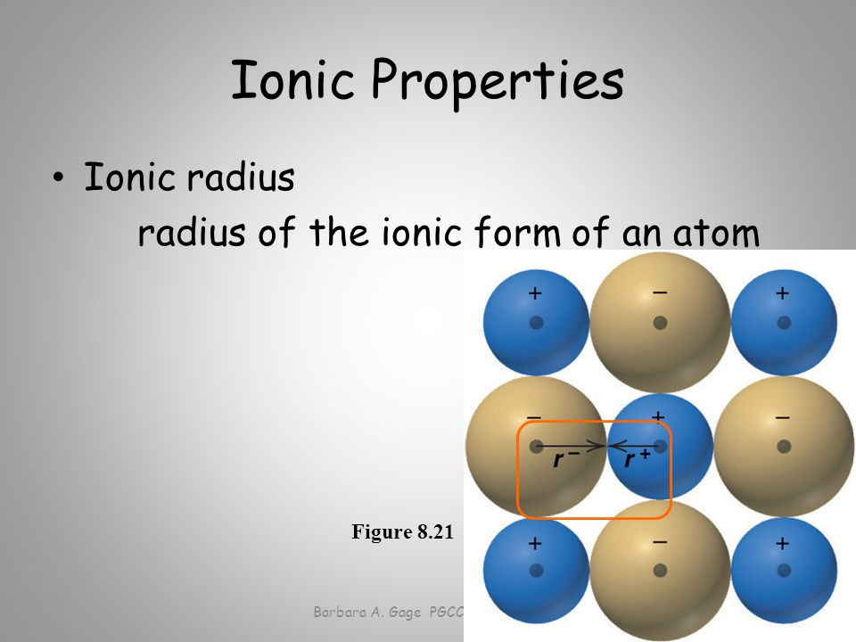 Ionic Properties Ionic radius radius of the ionic form of an atom Barbara A.