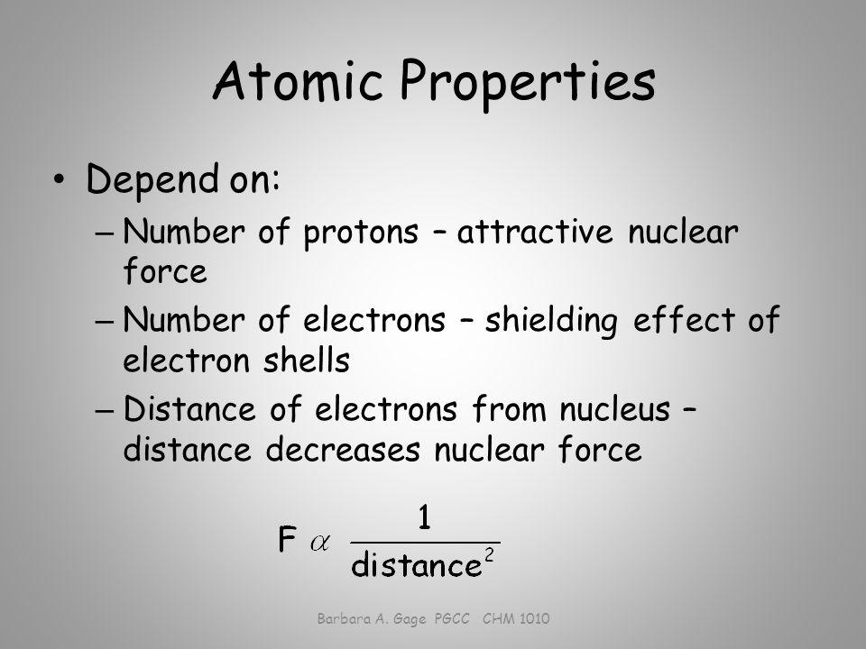 Atomic Properties Atomic radius Barbara A. Gage PGCC CHM 1010 Metallic and covalent radii.