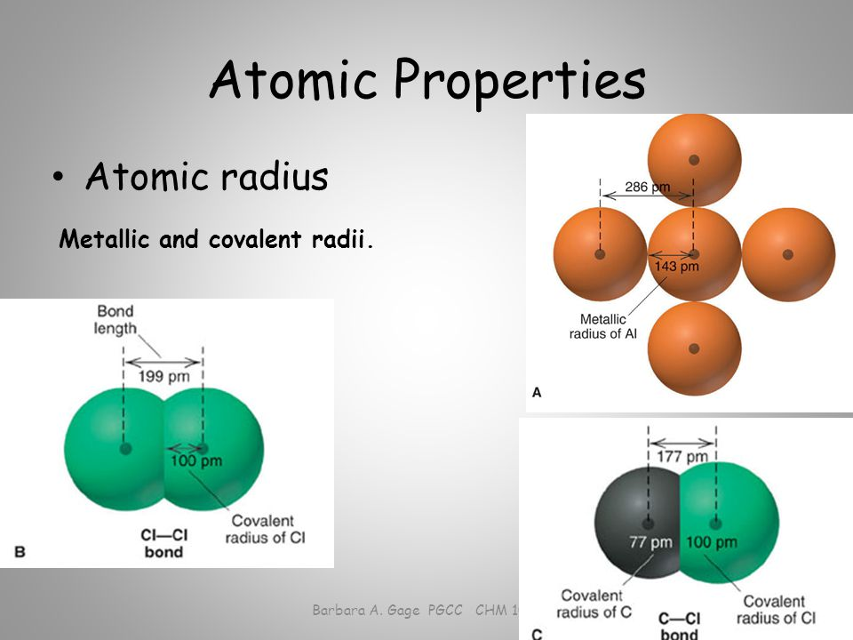 Atomic Properties Atomic radius Barbara A. Gage PGCC CHM 1010 Metallic and covalent radii.