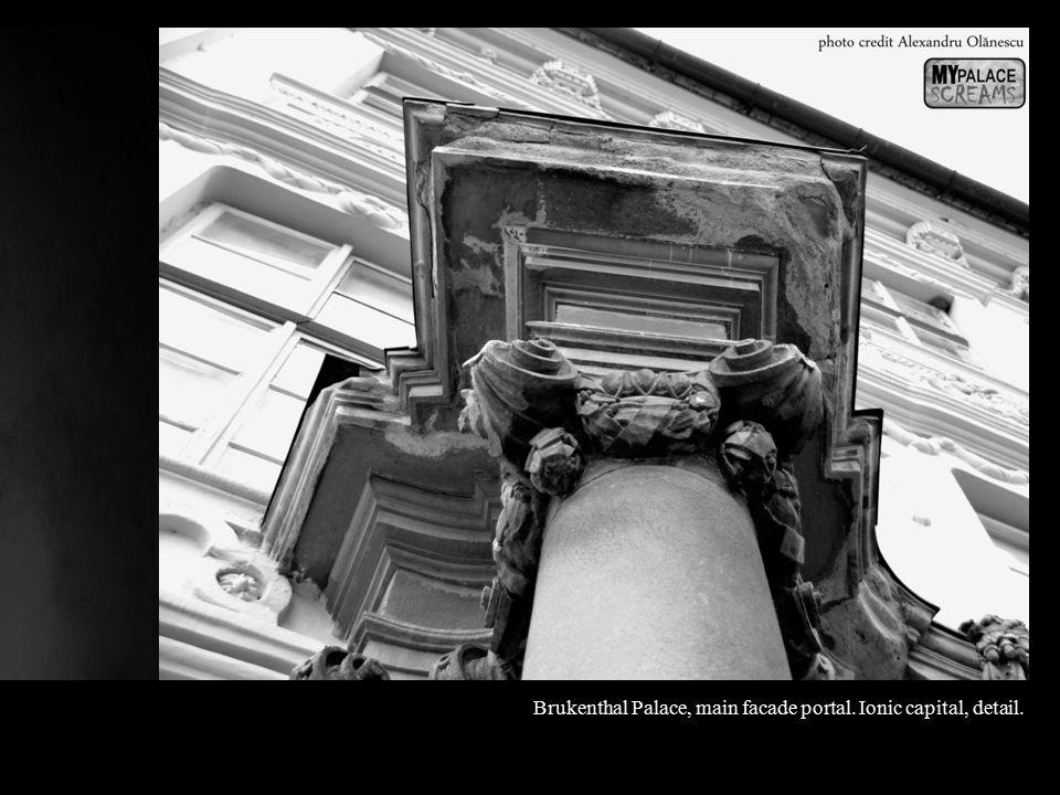 Brukenthal Palace, main facade portal. Ionic capital, detail.
