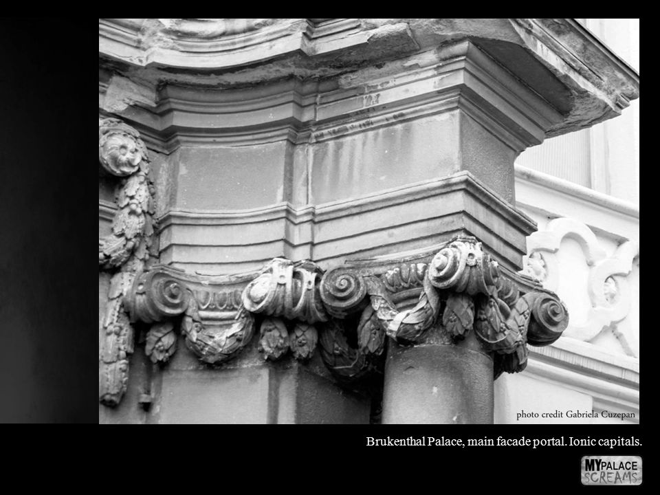 Brukenthal Palace, main facade portal. Ionic capitals.