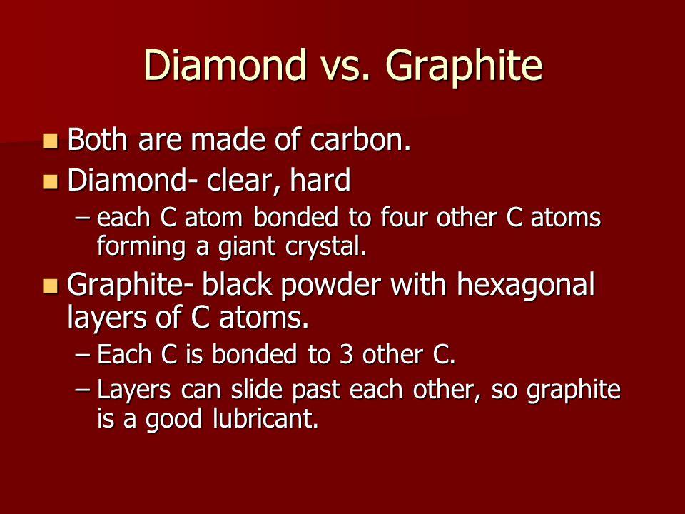Diamond vs. Graphite Both are made of carbon. Both are made of carbon.