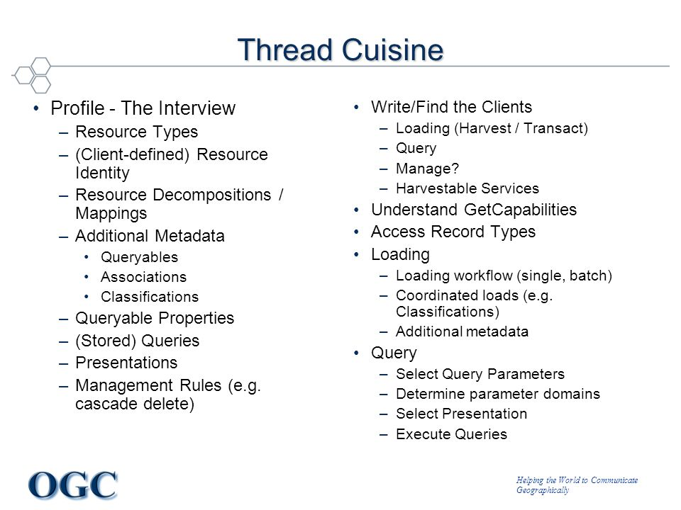 Helping the World to Communicate Geographically Thread Cuisine Profile - The Interview –Resource Types –(Client-defined) Resource Identity –Resource Decompositions / Mappings –Additional Metadata Queryables Associations Classifications –Queryable Properties –(Stored) Queries –Presentations –Management Rules (e.g.