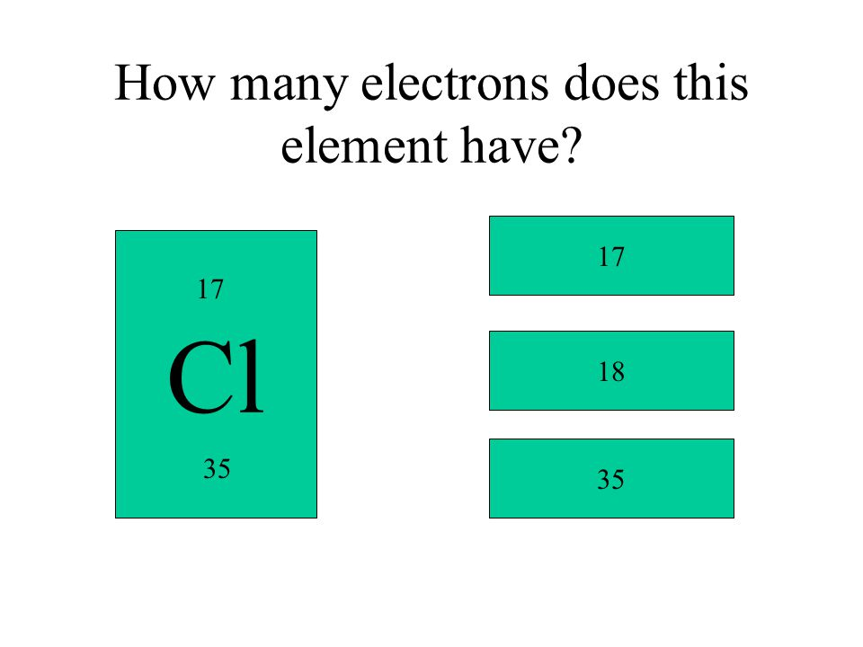 How many electrons does this element have? Cl 17 35 17 18 35