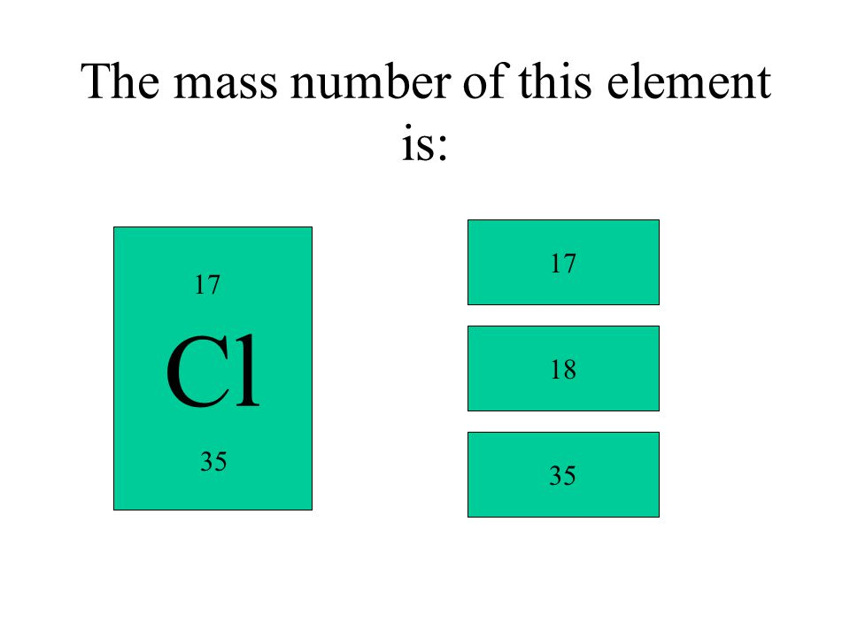 The mass number of this element is: Cl 17 35 17 18 35