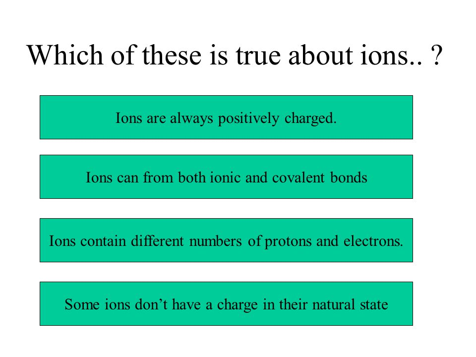 Which of these is true about ions.. Ions are always positively charged.