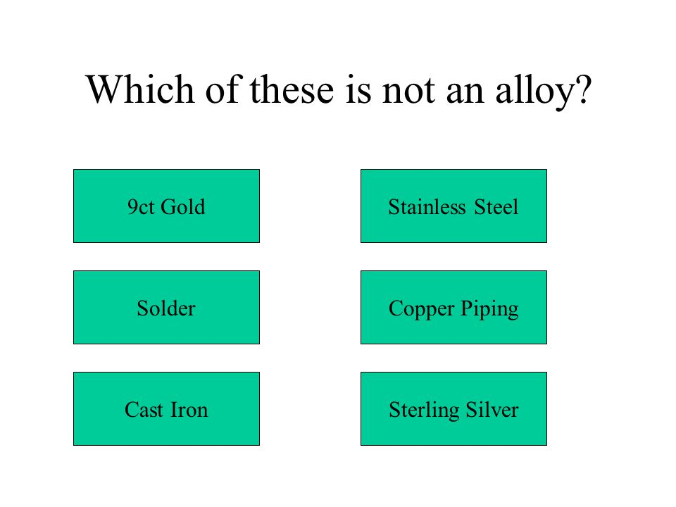 Which of these is not an alloy? 9ct Gold Solder Cast IronSterling Silver Copper Piping Stainless Steel