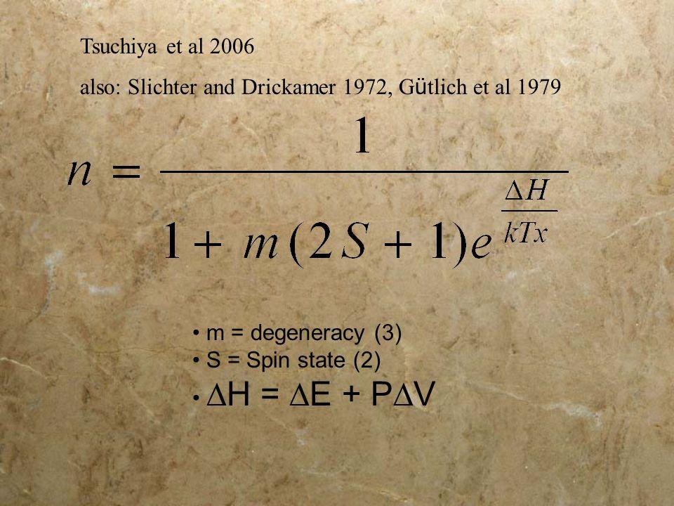 m = degeneracy (3) S = Spin state (2)  H =  E + P  V Tsuchiya et al 2006 also: Slichter and Drickamer 1972, G ü tlich et al 1979