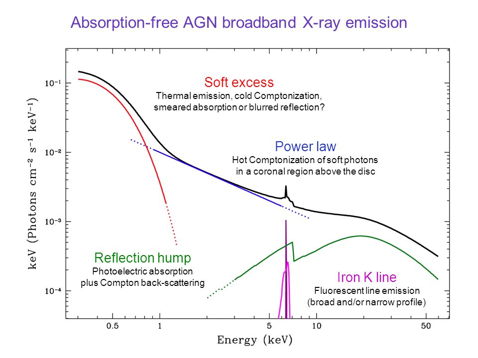 Absorption-free AGN broadband X-ray emission Soft excess Thermal emission, cold Comptonization, smeared absorption or blurred reflection.