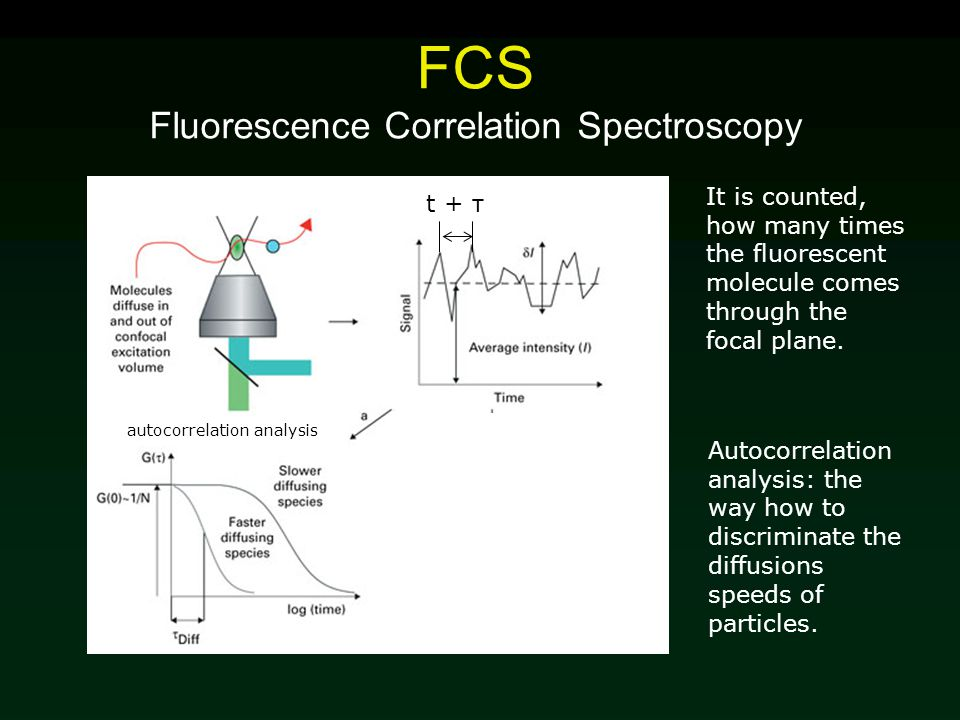 FCS Fluorescence Correlation Spectroscopy t + τ It is counted, how many times the fluorescent molecule comes through the focal plane. autocorrelation