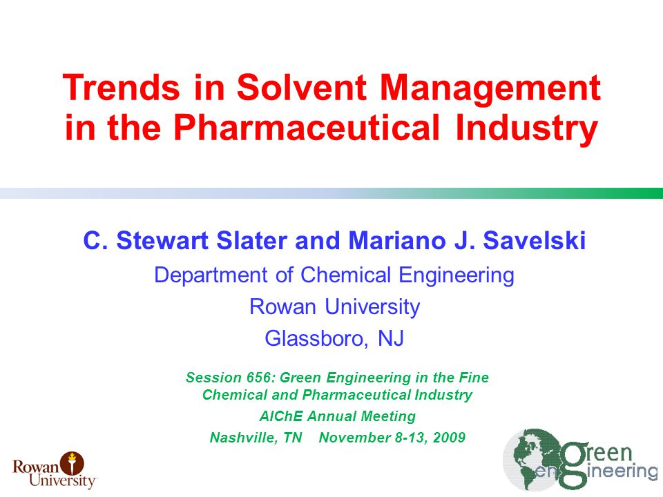 Process Case Study - Pfizer Investigation of solvent recovery alternatives to reduce solvent waste in celecoxib process IPA solvent recovery from final purification steps Integration of pervaporation with distillation using existing equipment inventory Slater, Savelski, Hounsell, Pilipauskas, Urbanski, ACS Green Chem & Eng Annual Conf, Washington DC, June 2008, Centrifuge IPA / Water Washes 50% IPA 50% Water IPA / Water Washes 49.2% IPA 49.6% H 2 O 0.71% MeOH and EtOH 0.5% TDS Mother Liquor 34.5% IPA 45.2% H 2 O 8.45% MeOH 2.71% EtOH 9.10% TDS Dryer Wet Product Solids Dryer Distillates 50.7% IPA 48.8% H 2 O 0.47% MeOH and EtOH 0% TDS Celecoxib Conc.