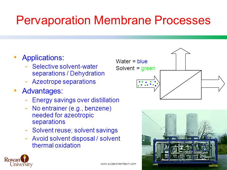 Pervaporation Membrane Processes Applications: - Selective solvent-water separations / Dehydration - Azeotrope separations Advantages: - Energy savings over distillation - No entrainer (e.g., benzene) needed for azeotropic separations - Solvent reuse; solvent savings - Avoid solvent disposal / solvent thermal oxidation Water = blue Solvent = green www.sulzerchemtech.com