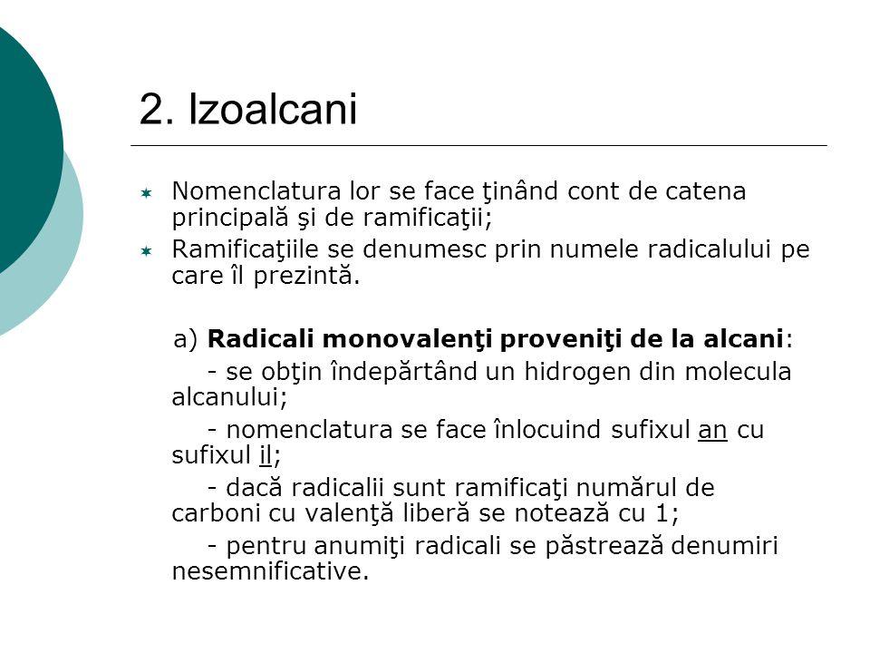 2. Izoalcani  Nomenclatura lor se face ţinând cont de catena principală şi de ramificaţii;  Ramificaţiile se denumesc prin numele radicalului pe car