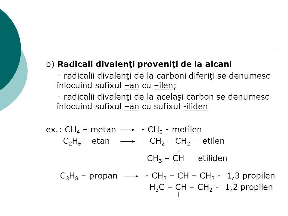 b) Radicali divalenţi proveniţi de la alcani - radicalii divalenţi de la carboni diferiţi se denumesc înlocuind sufixul –an cu –ilen; - radicalii diva