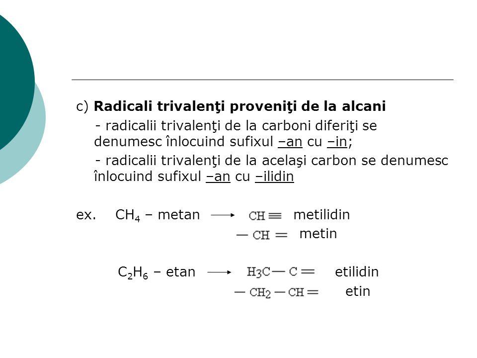 c) Radicali trivalenţi proveniţi de la alcani - radicalii trivalenţi de la carboni diferiţi se denumesc înlocuind sufixul –an cu –in; - radicalii triv