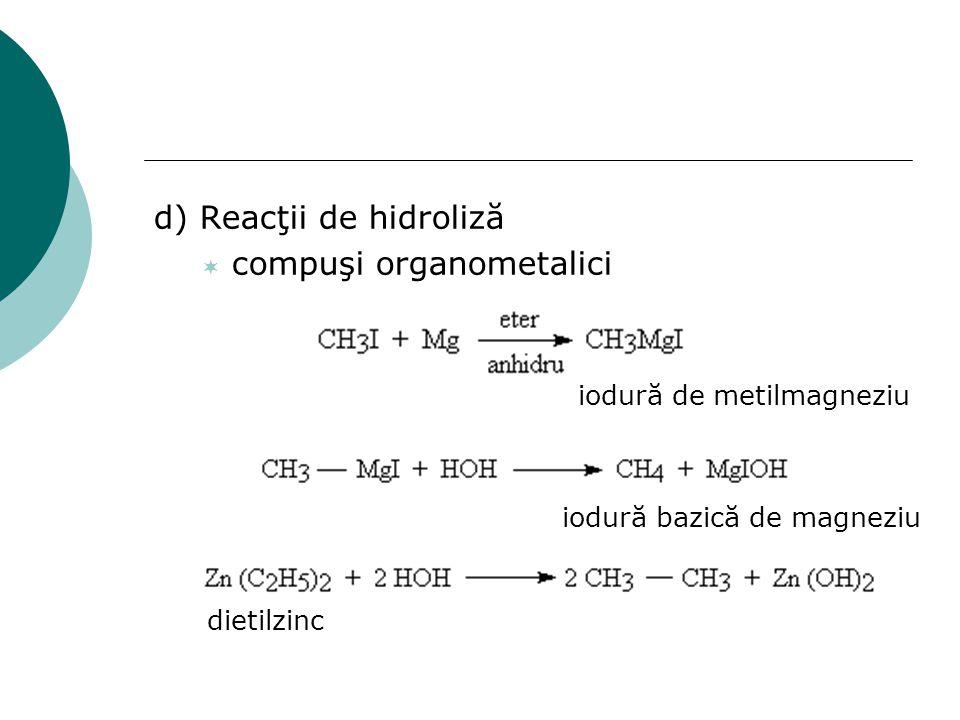 d) Reacţii de hidroliză  compuşi organometalici iodură de metilmagneziu iodură bazică de magneziu dietilzinc