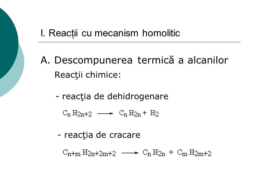 I. Reacţii cu mecanism homolitic A. Descompunerea termică a alcanilor Reacţii chimice: - reacţia de dehidrogenare - reacţia de cracare