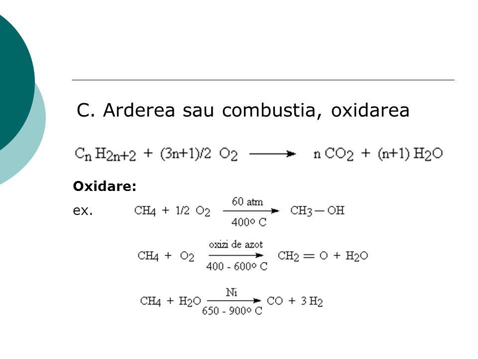 C. Arderea sau combustia, oxidarea Oxidare: ex.