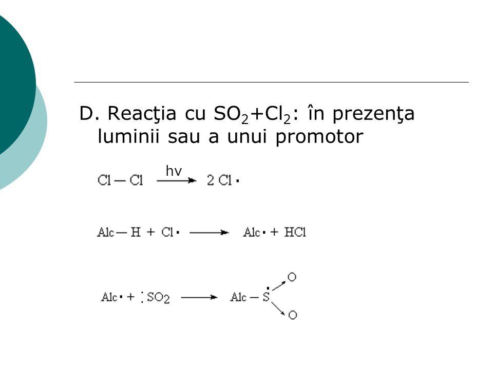 D. Reacţia cu SO 2 +Cl 2 : în prezenţa luminii sau a unui promotor. hνhν........