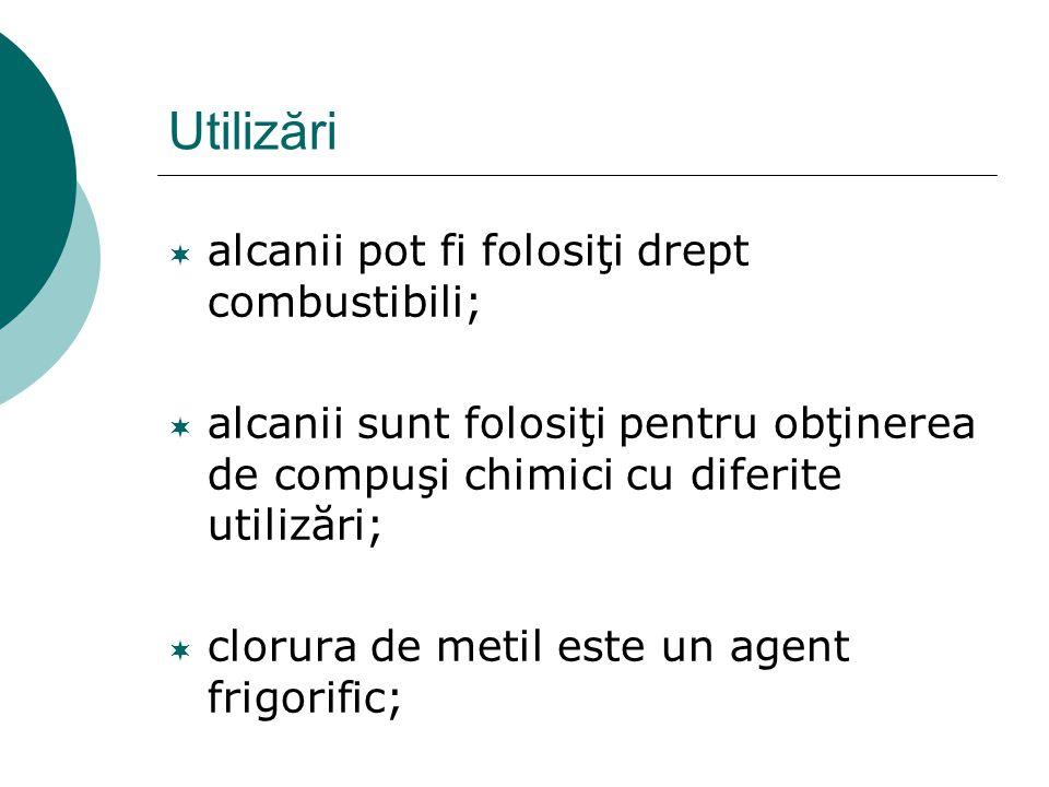 Utilizări  alcanii pot fi folosiţi drept combustibili;  alcanii sunt folosiţi pentru obţinerea de compuşi chimici cu diferite utilizări;  clorura d