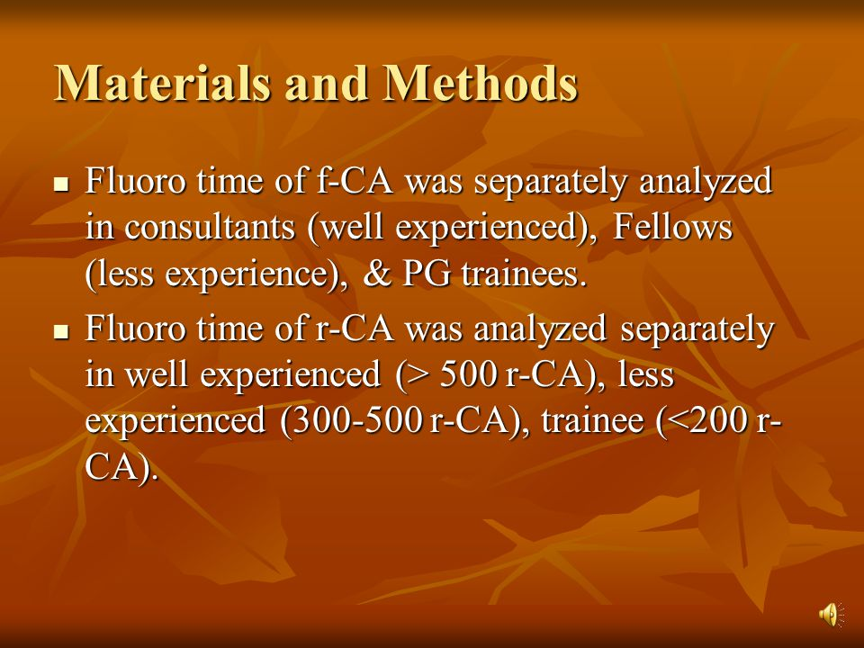 r-CA-- factors affecting fluoro time Univariate Analysis P-value 95 % Confidence interval (Odds Ratio) (Odds Ratio) 0.040.040.070.0000.100.00.025 – 2.56 (.071) -2.32 - -.00 (-.142) -2.483 -.114 (-1.184) 2.372 – 4.029 (3.201) -.346 – 3.87 (1.762) 1.170 – 3.353 (2.261) SexHypertensionDiabetes No of catheters used Significant LMCA disease Level of Experience
