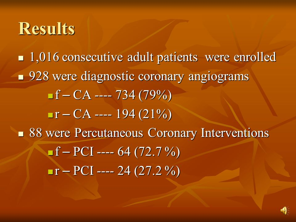 Results 1,016 consecutive adult patients were enrolled 1,016 consecutive adult patients were enrolled 928 were diagnostic coronary angiograms 928 were