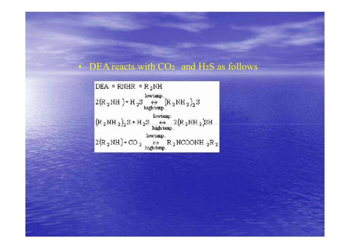 DEA reacts with CO 2 and H 2 S as follows